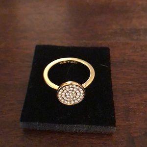 Authentic COACH  14 karat gold cz ring